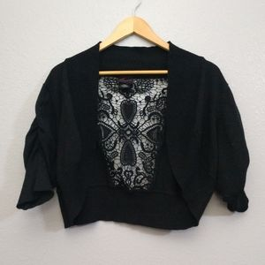 Torrid Plus 2 Black Cropped Lace Back Cardigan